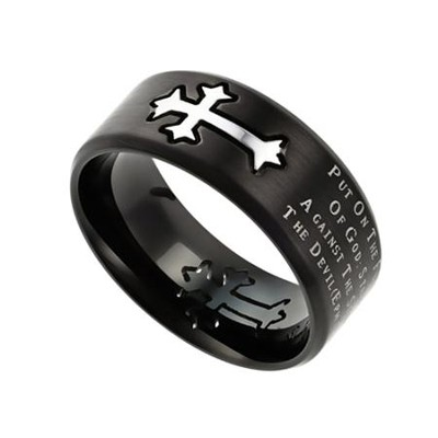 Armor of God, Neo Cross Scripture Ring, Black, Size 9   -