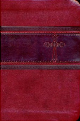 CEB Common English Bible Compact Thin, Red DecoTone with Cross  -