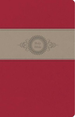 CEB Thinline Bible, Soft leather-like Vermillion Filigree  -