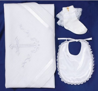 Baptism Bib, Blanket, Sock Set  -
