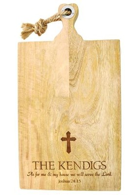 Personalized, Mango Cutting Board, Extra Large, with  Cross  -