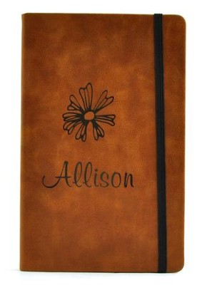 Personalized, Leather Notebook, with Flower, Large, Tan   -