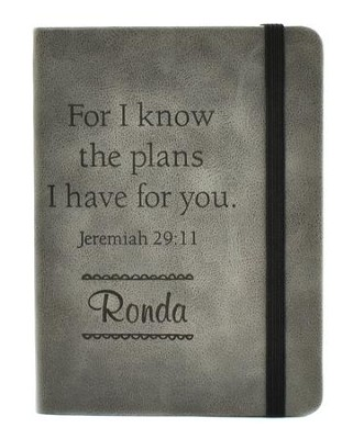 Personalized, Leather Notebook, Large, Graduation, Grey   -