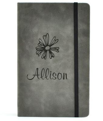 Personalized, Leather Notebook, with Flower, Large,Gray   -