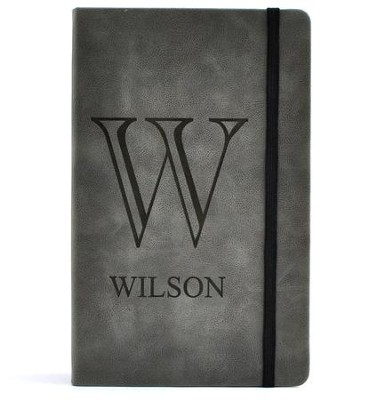 Personalized, Leather Notebook, Monogram, Large, Gray   -