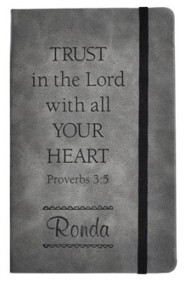Personalized, Leather Notebook, Trust In The Lord, Large, Grey  -