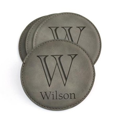 Personalized, Leather Coaster, with Monogram, Grey   -