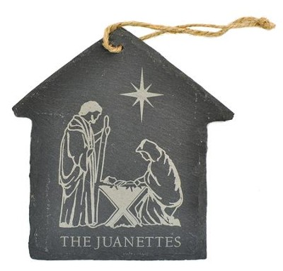 Personalized, Ornament, House, Slate, Large, Nativity   -
