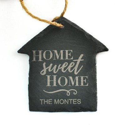 Personalized, Slate House Ornanment, Home Sweet Home,  Small  -