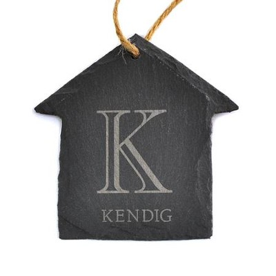 Personalized, Slate House Ornament, Monogram, Small   -
