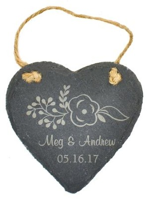 Personalized, Slate Ornament, Heart    -