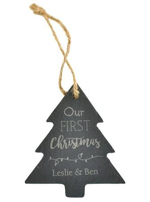 Personalized, Slate Ornament, Tree, Our First Christmas     -