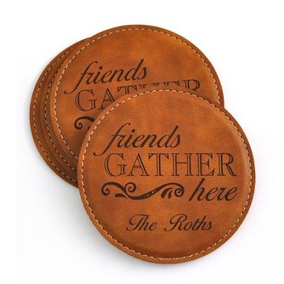 Personalized, Leather Coaster Set, Friends Gather Here, Tan   -