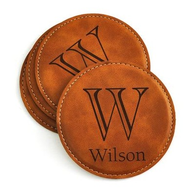 Personalized, Leather Coaster Set, with Monogram, Tan   -