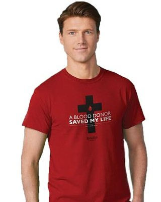 Blood Donor Shirt, Red, Medium  -