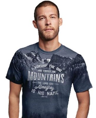 I Worship the One Who Formed the Mountains Shirt, Gray, Large  -