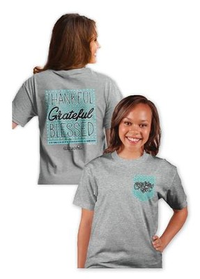 Thankful Grateful Blessed Shirt, Gray, Large  -