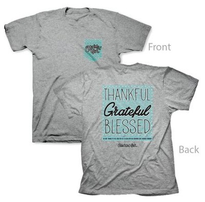 Thankful Grateful Blessed Shirt, Gray, XXXX-Large  -