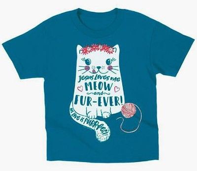 Jesus Love Me Meow and Furever Shirt, Blue, 3T  -