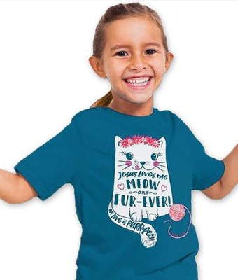 Jesus Love Me Meow and Furever Shirt, Blue, Youth Small  -