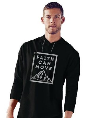 Faith Can Move, Hooded Long Sleeve Shirt, Black, XX-Large  -