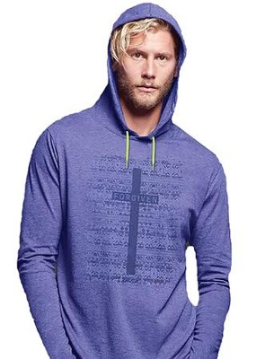 Forgiven, Hooded Long Sleeve Shirt, Blue Heather, Large  -