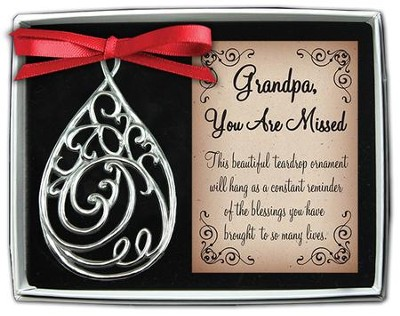 Grandpa, Filigree Tear Ornament  -