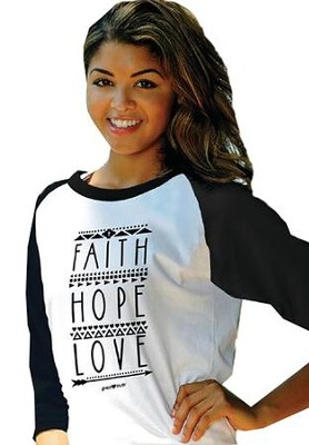 Faith Hope Love, 3/4 Raglan Sleeve Shirt, Black, Small  -