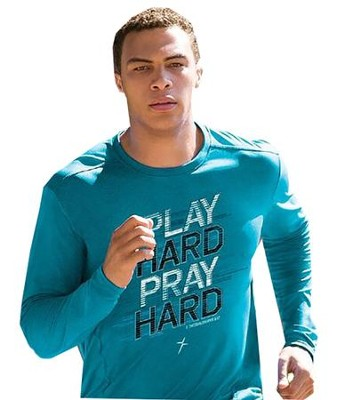 Play Hard, Long Sleeve Active Shirt, Sapphire Blue, Small  -