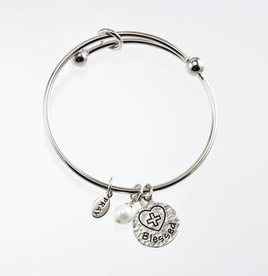 Blessed First Communion Bangle Bracelet, Silver  -