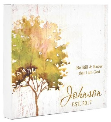 Personalized, Boxed Sign with Tree, Be Still   -