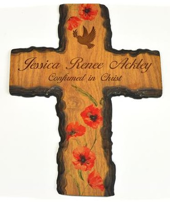 Personalized, Barky Cross, with Dove, Floral   -