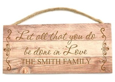 Personalized, Wooden Hanging Sign, Love   -