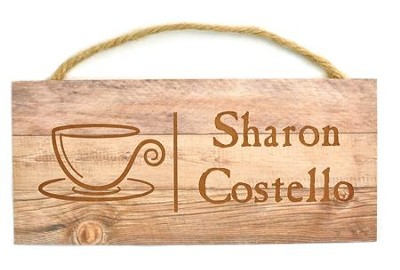 Personalized, Wooden Hanging Sign, with Coffee Mug   -