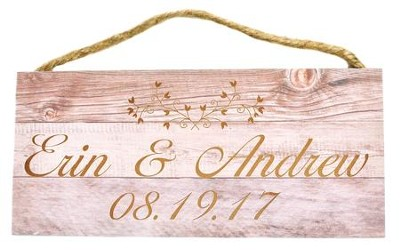 Personalized, Hanging Sign, Wood, Names with Date   -