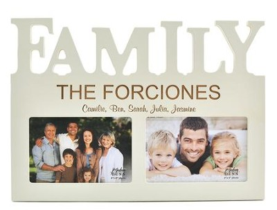 Personalized, Photo Frame, 4X6 Family Word, White   -