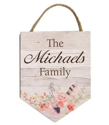 Personalized, Hanging Sign with Family Name, Floral   -