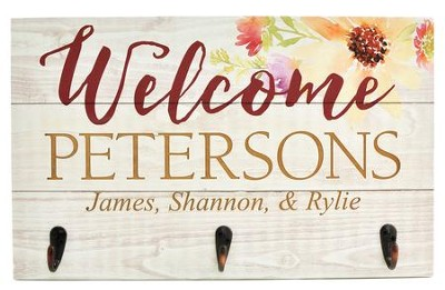 Personalized, Plaque With Hooks, Welcome   -