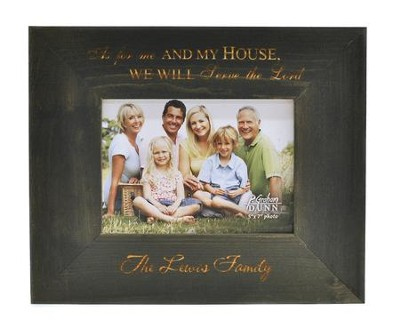 Personalized, 5x7 Photo Frame, As For Me and My House, Pine, Grey  -