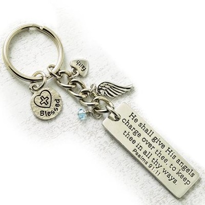 He Shall Give His Angels Keyring with Charms  -