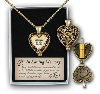Always In My Heart Memorial Necklace, Gold  -