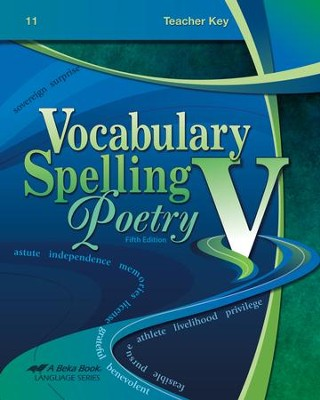 Abeka Vocabulary, Spelling, & Poetry V Teacher Key   -