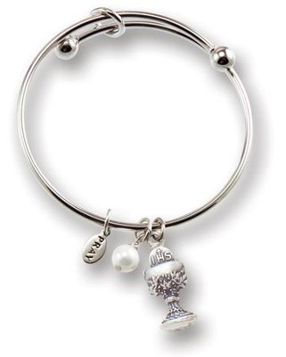 First Communion Bangle Bracelet, Silver  -