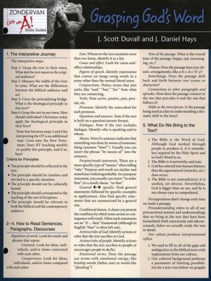 Zondervan Get an A! Study Guides, Grasping God's Word,    Laminated Sheets  -     By: J. Scott Duvall, J. Daniel Hays