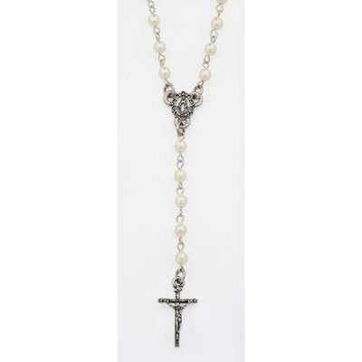 Rosary Pendant, Faux Pearl  -