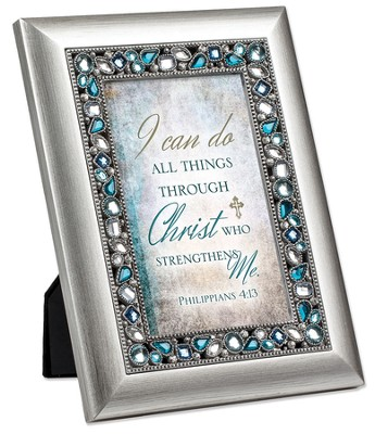 I Can Do All Things Through Christ, Jeweled Framed Verse   -