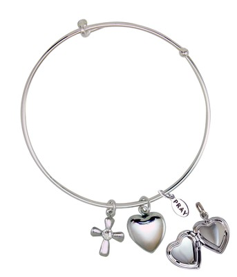 April Bangle Bracelet, with Heart Locket and Cross  -