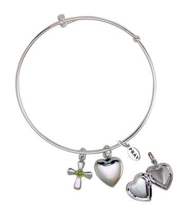 August Bangle Bracelet, with Heart Locket and Cross  -