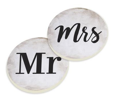 Mr. and Mrs., Car Coasters/ Set of 2  -
