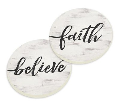 Faith and Believe, Car Coasters, Set of 2  -